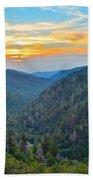 Mortons Overlook Smoky Mountain Sunset Beach Towel