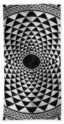 Mosaic Circle Symmetric Black And White Beach Towel