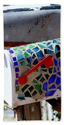 Mosaic Mailbox On The Turquoise Trail In New Mexico Beach Towel