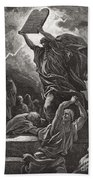 Moses Breaking The Tablets Of The Law Beach Towel by Gustave Dore