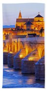 Mosque-cathedral And The Roman Bridge In Cordoba Beach Towel