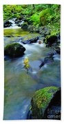Mossy Rocks And Moving Water  Beach Towel