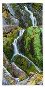 Mossy Waterfall At Snow Lake Beach Towel