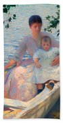Mother And Child In A Boat Beach Towel