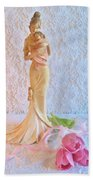 Mother And Child With Pink Tulips Beach Towel