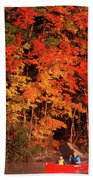 Mother And Son Canoeing Near Fall Beach Towel