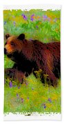 Mother Bear And Cub In Meadow Beach Towel
