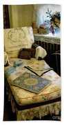 Mother's Chintz Chaise In The Corner Beach Towel by RC deWinter