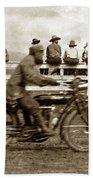 Motorcycle At Salinas California Rodeo Grounds Circa 1910 Beach Towel
