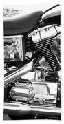 Motorcycle Close-up Bw 3 Beach Towel
