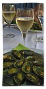 Moules And Chardonnay Beach Towel by Allen Sheffield