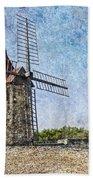 Moulin De Daudet Fontvieille France On A Texture Dsc01833 Beach Towel