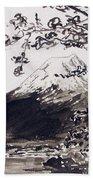 Mount Fuji Spring Blossoms Beach Sheet