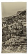 Mount Of The Temptation Monestary Jericho Israel Antiqued Beach Towel