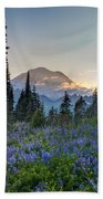 Mount Rainer Flower Fields Beach Towel