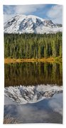 Mount Rainier And Reflection Lakes In The Fall Beach Towel
