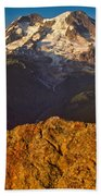Mount Rainier At Sunset With Big Boulders In Foreground Beach Towel