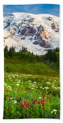 Mount Rainier Flower Meadow Beach Towel
