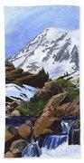 Mount Rainier From Edith Creek Beach Towel
