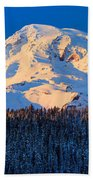 Mount Rainier Winter Evening Beach Towel