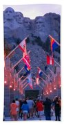 Mount Rushmore At Night Beach Towel
