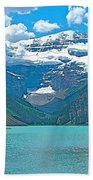 Mount Victoria Rises Above Lake Louise In Banff Np-alberta Beach Towel