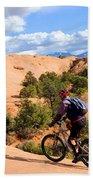 Mountain Biking Moab Slickrock Trail - Utah Beach Towel