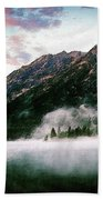 Mountain By The Lake Beach Towel