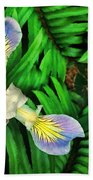 Mountain Iris And Ferns Beach Towel