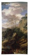 Mountain Landscape With Figures Beach Sheet