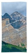 Mountain Peaks From Bow Summit Along Icefield Parkway In Alberta Beach Towel