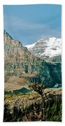 Mountain Peaks From Plain Of Six Glaciers Trail In Banff Np-albe Beach Towel