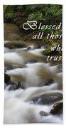 Mountain Stream With Scripture Beach Towel