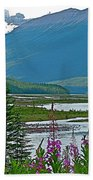 Mountains And Fireweed Along North Sascatchewan River Along Icefield Parkway-ab Beach Towel
