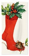 Mouse In A Christmas Sock Beach Towel