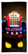 Mr. Atomic Tin Robot Beach Towel by Edward Fielding