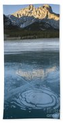 Mt. Abraham And Ice On Abraham Lake Beach Towel