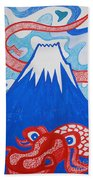 Mt. Fuji And A Red Dragon Beach Towel