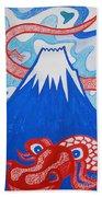 Mt. Fuji And A Red Dragon Beach Towel