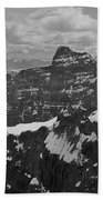 T-703512-bw-mt. Hungabee From Summit Of Mt. Lefroy-bw Beach Towel