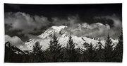 Mt Rainier Panorama B W Beach Towel