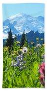 Mt. Rainier Wildflowers Beach Towel