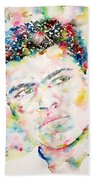 Muhammad Ali - Watercolor Portrait.1 Beach Towel