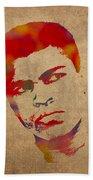 Muhammad Ali Watercolor Portrait On Worn Distressed Canvas Beach Towel