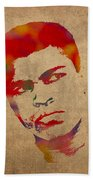 Muhammad Ali Watercolor Portrait On Worn Distressed Canvas Beach Towel