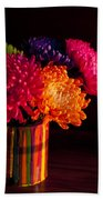 Multicolored Chrysanthemums In Paint Can On Chest Of Drawers Int Beach Towel