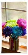 Multicolored Chrysanthemums In Paint Can On Window Sill Beach Towel