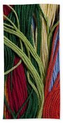 Multicolored Embroidery Thread Mixed Up  Beach Towel