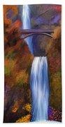 Multnomah Falls In Autumn Beach Towel