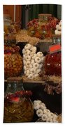 Munich Market With Pickles And Olives Beach Towel